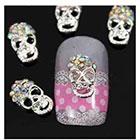 Amazon Vip Beauty Shop Sellingpillar 10pcs Silver Skull Alloy 3d Ab Rhinestone Crystal Nail Art Tips Slice Decoration
