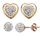Kohl's Crystal 14k Gold Over Silver Heart & Ball Stud Earring Set