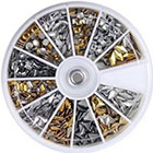 Amazon 600 pcs 3D Design Nail Art Different Metallic Studs Gold & Silver Stud Wheel Manicure