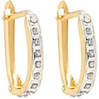 Diamond Oval Sterling Silver Earrings with Accents - Yellow