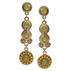 Target Zirconite 3mm and 10mm Colored Stones with Beaded Artisan Drop Earrings - Yellow