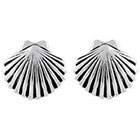 Journee Collection Sterling Silver Clam Shell Stud Earrings