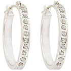 Diamond Oval Sterling Silver Earrings with Accents - White