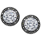 Target Silver Plated Marcasite and Cubic Zirconia Stud Earring - 12.2mm