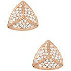 Fossil Pave Triangular Stud Earrings in ROSE GOLD