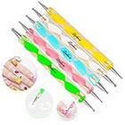 Amazon 5 pc 2 Way Dotting Pen Tool Nail Art Tip Dot Paint Manicure kit
