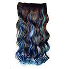 Amazon Stepupgirl 23 Inch Dark Brown Sky Blue and Sapphire 3 Mixed Color Curly Curl Wavy Full Head Clip in Hair Extension with Souvenir Card
