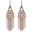 Natasha Accessories Fringe Earring with Beads - Multicolor (4
