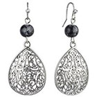 Target Rhodium Teardrop Filigree with Round Bead Drop Dangle Earrings - Silver/Black