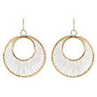 Natasha Accessories Beaded Earrings - White/Gold (2