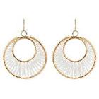 Natasha Accessories Beaded Earrings - White/Gold (2