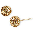Lord & Taylor 18 Kt Gold Over Sterling Silver Lace Ball Earrings