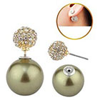 Target Zirconite Women's Zirconite Pearl/Crystal Peekaboo Earring - Olive