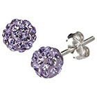 Target Silver Plated Crystal 6mm Purple Stud Earrings