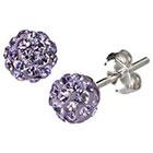 Target Silver Plated Crystal 6mm Purple Stud Earrings
