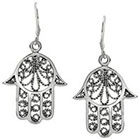 Journee Collection Hasma Hand Dangle Earrings in Sterling Silver