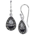 Diamond Silver Crystal and Plated Marcasite Earring - Black/Silver (1.0