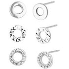 Target Set of 3 Stud and Open Circle Earrings in Gift Box - Silver/Clear