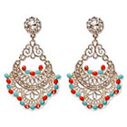 Natasha Accessories Fashion Earring with Beads - Turquoise/Red/Gold (3