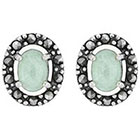 Target Marcasite and Jade Earring - Silver