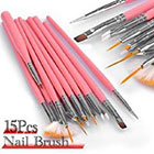 Amazon Leegoal 15pc Nail Art Design Dotting Brush Painting Pen Tool Set Pink Stick DIY Fit Tips