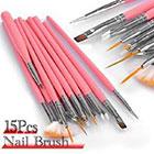Amazon Leegoal 15pc Nail Art Design Dotting Brush Painting Pen Tool Set Pink Stick DIY Fit Tips