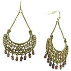Target Curb Link Earrings with Openwork Casting and Beads - Brown