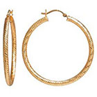 Target Gold Plated Textured Hoop Earrings - Gold (40mm)