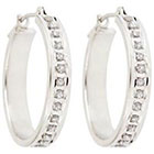 Diamond Round Sterling Silver Earrings with Pave Accents - White