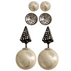 Target Fashion Earring Set with Stones and Simulated Pearls - Gray