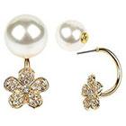 Target Zirconite Women's Zirconite Pearl/Flower Crystal Peekaboo Earring - Cream