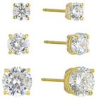 Target Cubic Zirconia Set of 3 Round Stud Earrings with 14k Gold Plating in Sterling Silver - Gold