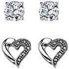 Target Silver Plated Marcasite and Cubic Zirconia Heart Stud Duo Earring - 9.5mm
