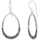 Target Marcasite Rope Oval Dangle - Silver