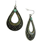 Target Drop Earrings with Acrylic Cab and Shell - Silver/Mint