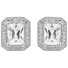 Journee Collection 3 1/10 CT. T.W. Emerald Cut CZ Basket Set Stud Earrings in Brass - Silver