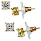 Target Gold Plated Cubic Zirconia Round and Square Stud Earrings Set