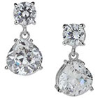 Tevolio Cubic Zirconia Pear and Round Dangling Earrings - Silver