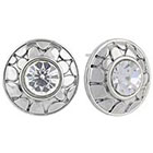 Target Button Earrings with Textured Round Bezel Crystals - Silver