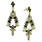 Target Earring with Marquis and Baguette Stones - Black/Crystal