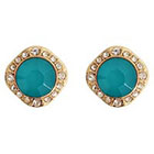 Target Fashion Earrings with Stones-- Gold and Teal