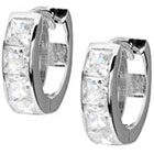 Target 1 1/5 CT. T.W. Square Cut Cubic Zirconia Pave Set Hoop Earrings - Silver