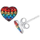 Target Silver Plated Heart Crystal Stud Earrings - Multicolor