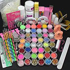 Amazon US Seller USPS Shipping! 28in1 Combo Set Professional Acrylic Liquid Nail Art Brush Pen Glue Glitter Strip Shimmering Powder Hexagon Slice Toe Finger Separator Buffer Block Deco Tips Tool Kit