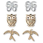 Target Set of 3 Earrings with Butterfly, Owl, and Bird - Gold/Silver