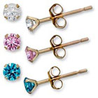 Target Cubic Zirconia White, Pink, and Blue Stud Earrings Set in 10k Yellow