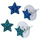 Target Sterling Silver Duo Star Stud Earrings Set - Blue/Turquoise