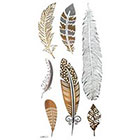 Amazon.com Gold & Silver & Black feather design Metallic Temporary Tattoos, tattoo Size: 6.69