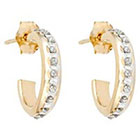 Diamond 3/4 Post Hoop Sterling Silver Earrings with Accents - Yellow