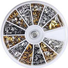 enForten 600 pcs 3D Design Nail Art Different Metallic Studs Gold & Silver Stud Wheel Manicure in